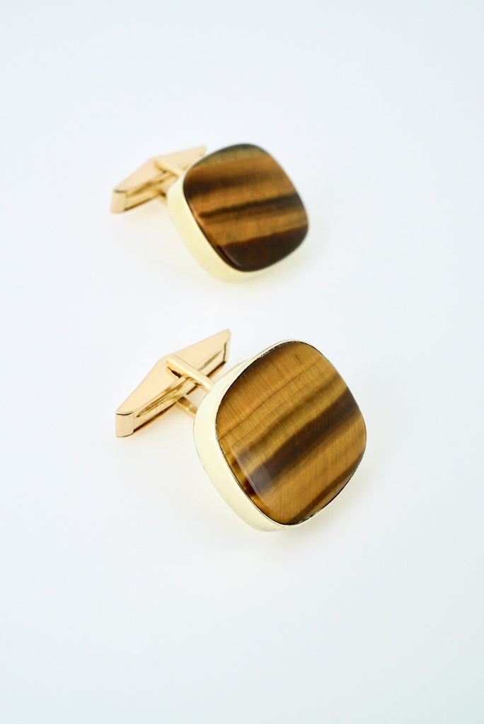 Vintage 14k Yellow Gold Tigers Eye Cufflinks - Karams - 1960s