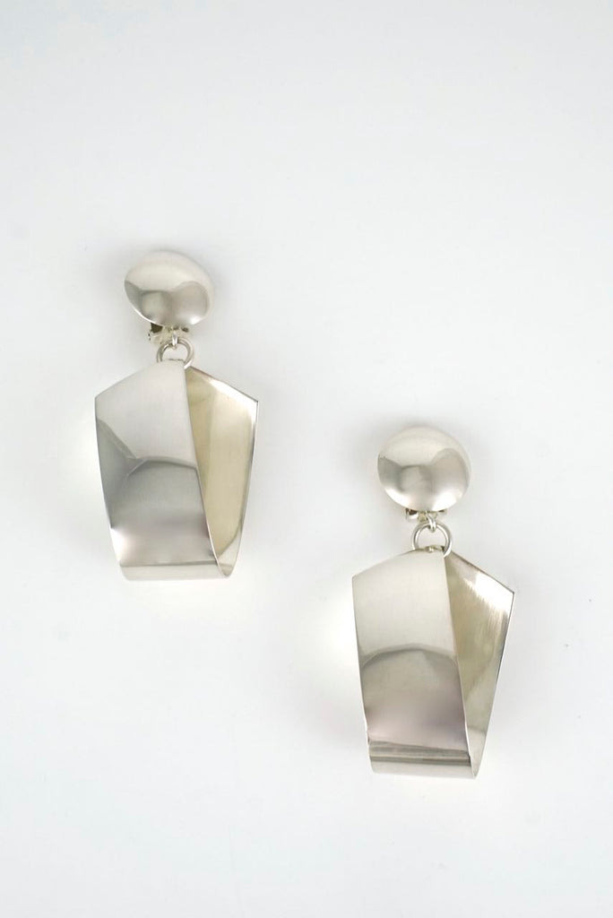 Georg Jensen large silver ribbon drop clip earrings - design 206 Denmark