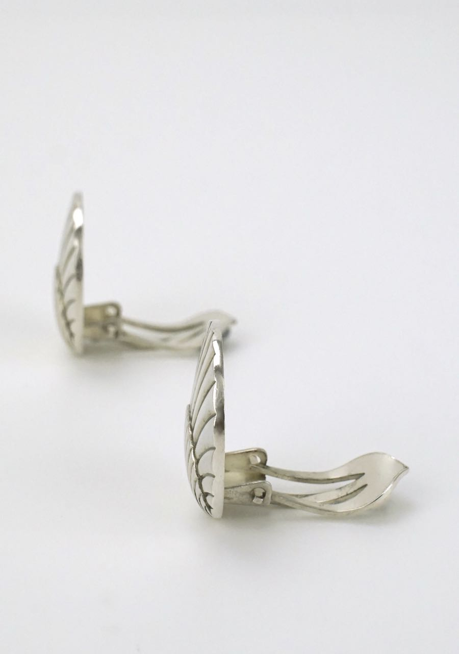 Georg Jensen solid silver shell clip earrings - design 107 1960s