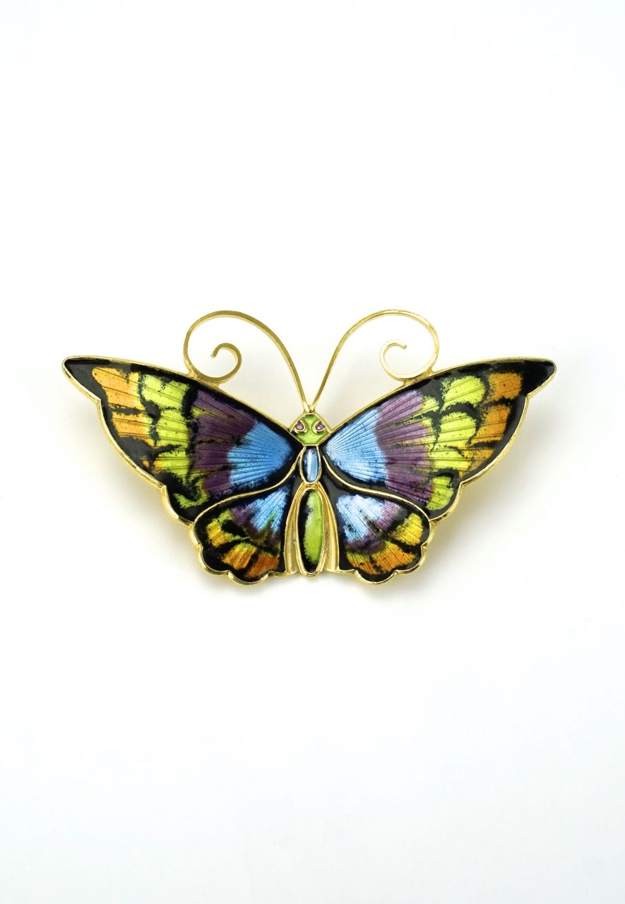 David Andersen multicoloured silver gilt enamel butterfly brooch 1960s