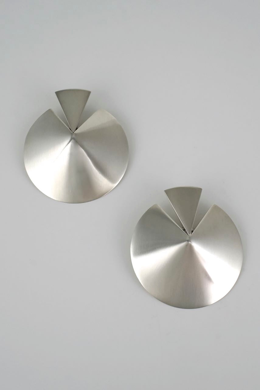 Georg Jensen large silver disc earrings - Hans Hansen 1990s