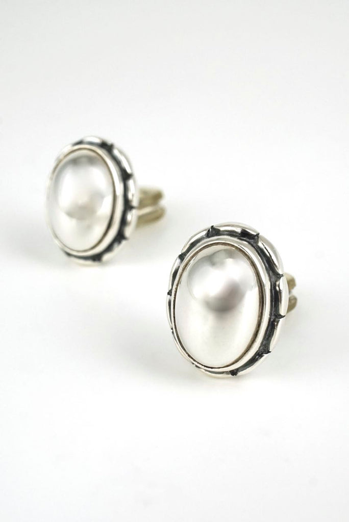 Georg Jensen silver stone oval clip earrings Heritage Series 2001