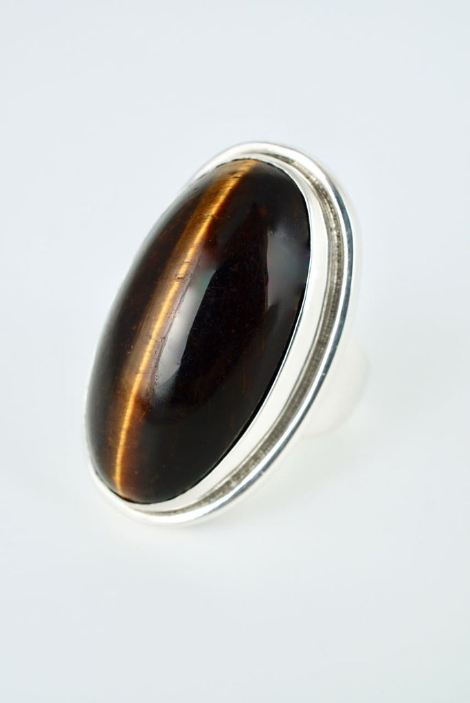 Vintage Georg Jensen Large Sterling Silver Tigers Eye Ring - Design 46E