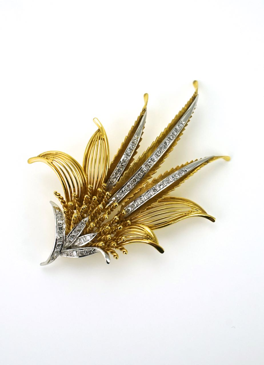 14k yellow gold diamond fern spray brooch pin 1950s USA