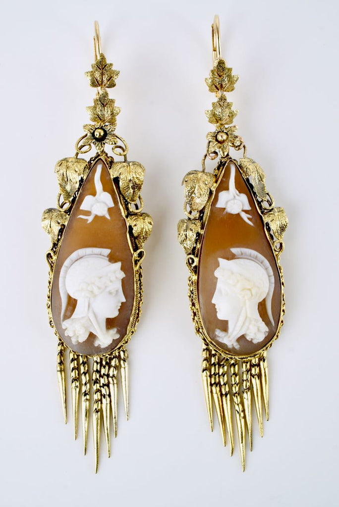 Antique Victorian 18k Yellow Gold Shell Cameo Drop Earrings
