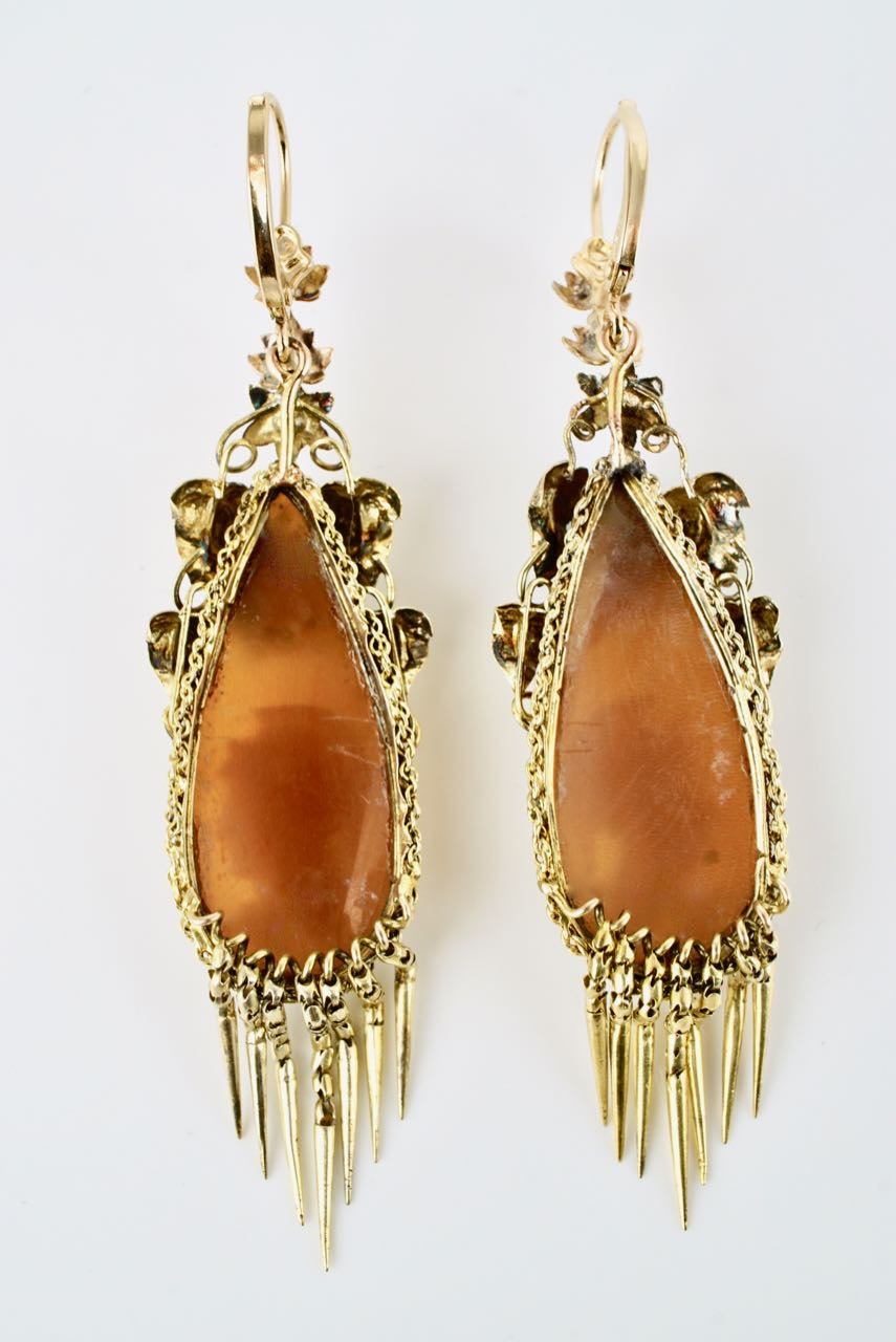 Antique Victorian 18 Karat Yellow Gold Shell Cameo Drop Earrings