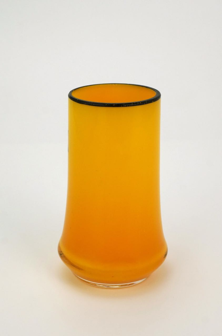 1920s art glass yellow and black enamel Sydney souvenir vase