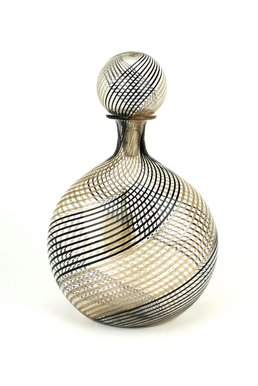 Murano latticino glass decanter Linea Valentina