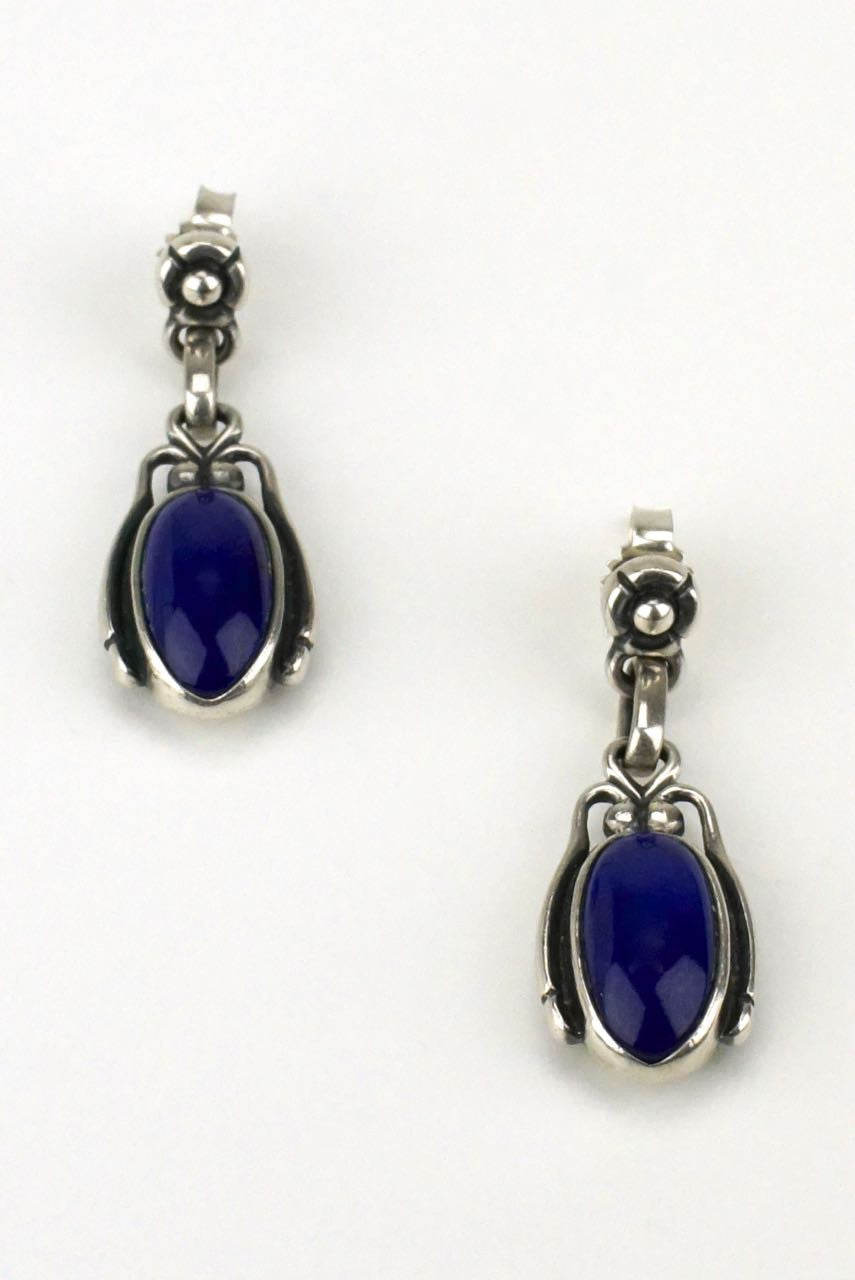 Georg Jensen silver and lapis drop earrings 2009