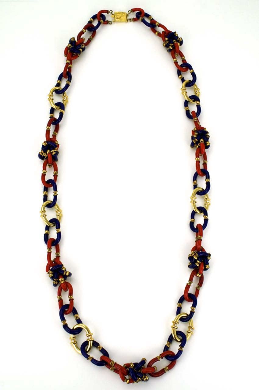 Archimede Seguso for Chanel red and blue glass link necklace 1960s