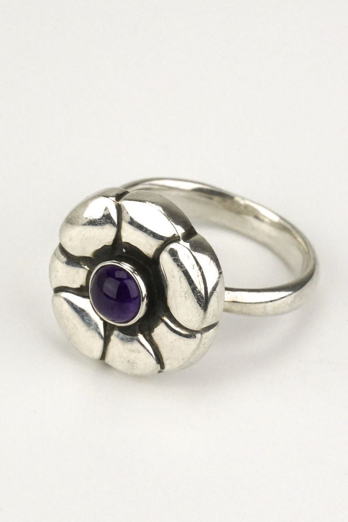 Georg Jensen Moonlight Blossom amethyst flower ring - design 36