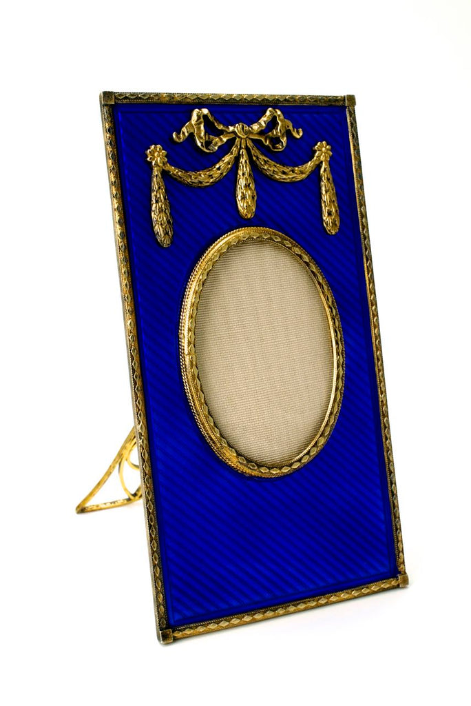Solid silver gilt and deep blue enamel frame 1950s