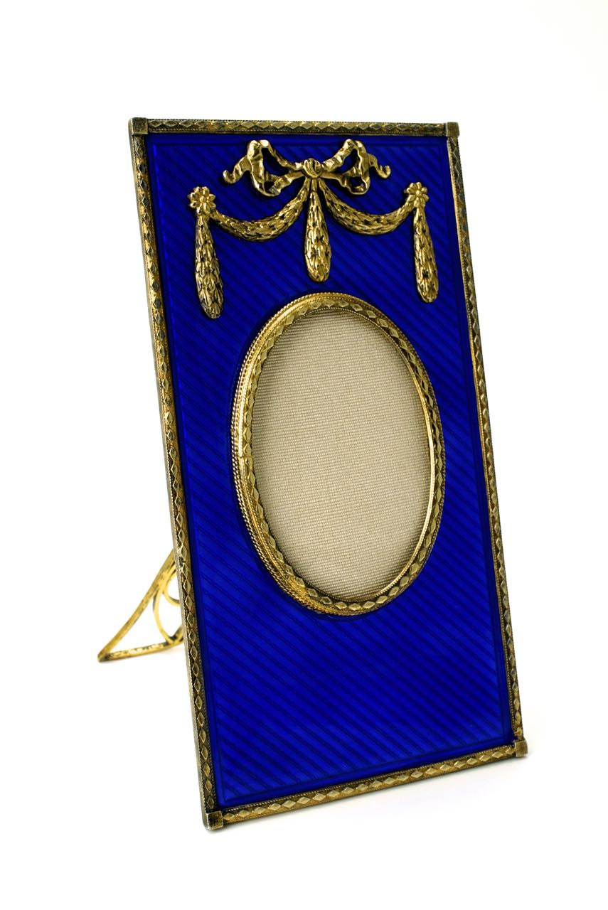 ZZVintage solid silver gilt and deep blue enamel frame 1950s ...