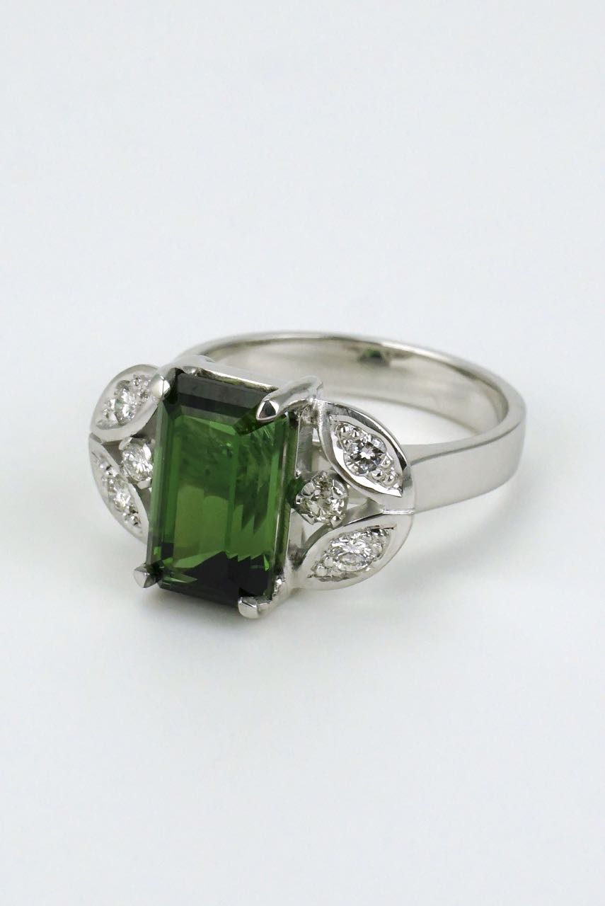 green diamond and tourmaline engagement caymancode rings ring marcy