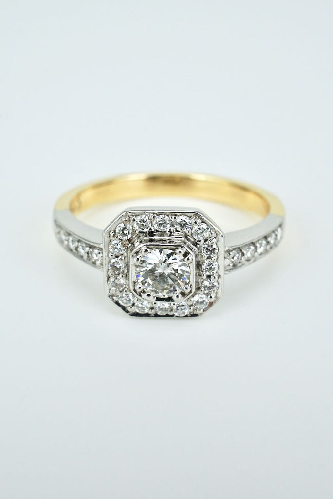 18k White and Yellow Gold Diamond Art Deco Style Ring