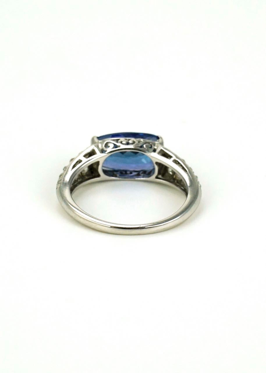 18k white gold tanzanite and diamond ring