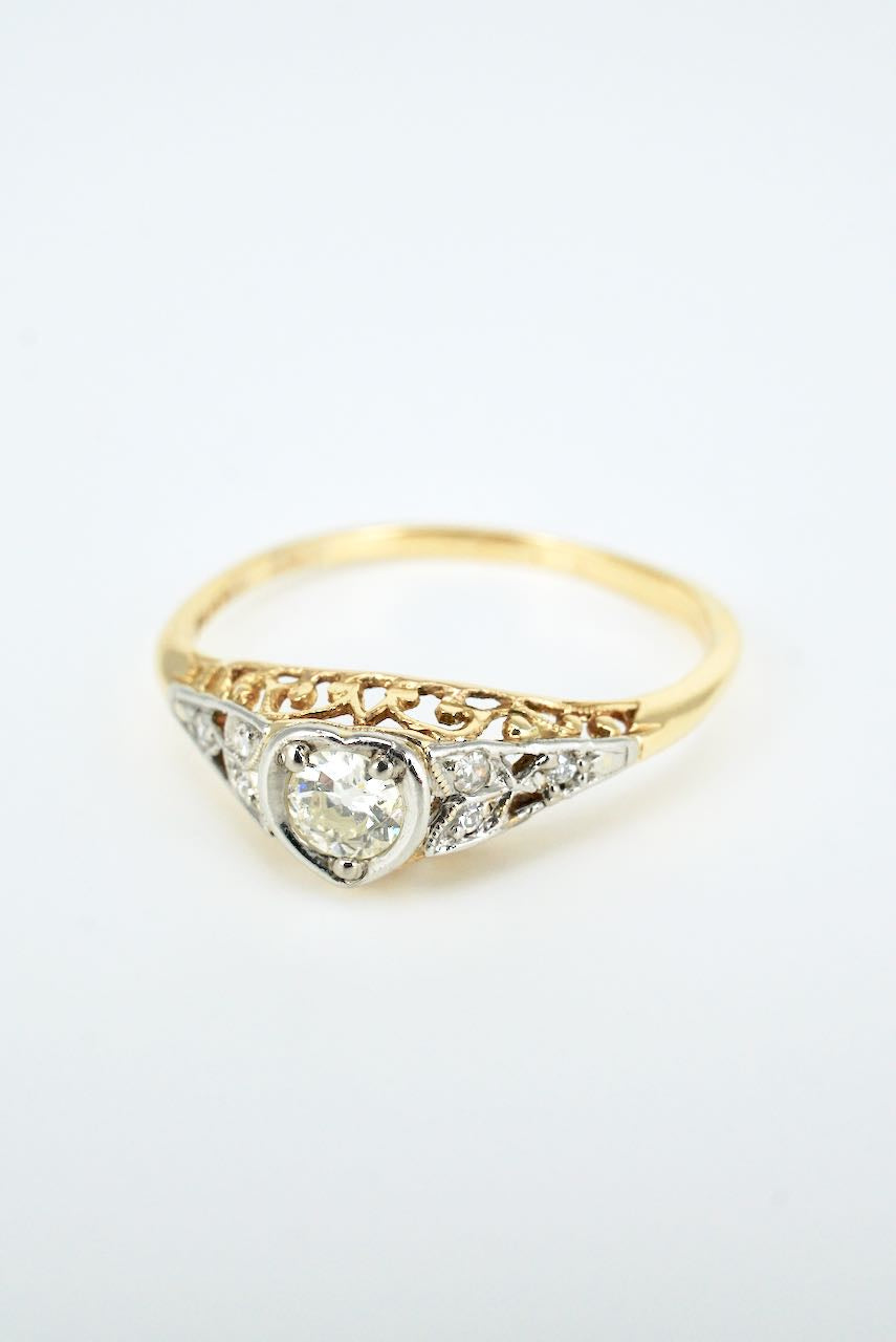 Antique Art Deco 18k Yellow Gold Platinum Diamond Heart Ring 1930s