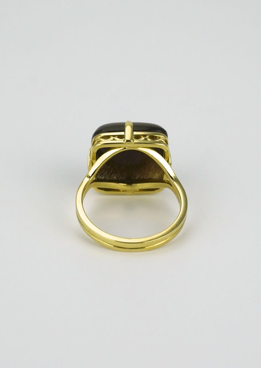 18k yellow gold square sunstone ring