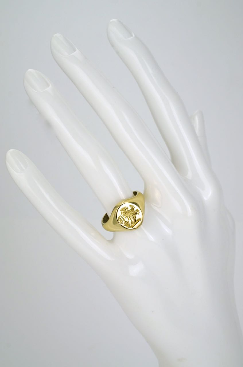 18k gold lion intaglio seal ring 1920s