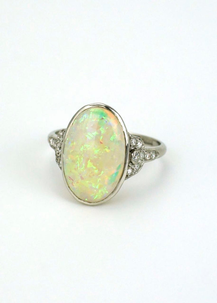 Antique Art Deco Platinum Opal and Diamond Ring 1930s