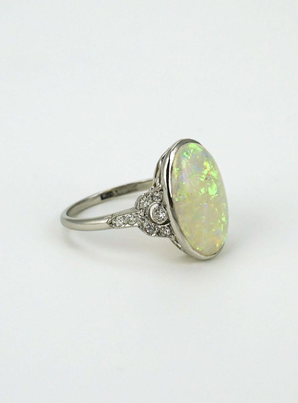 Art Deco platinum opal and diamond ring 1930s