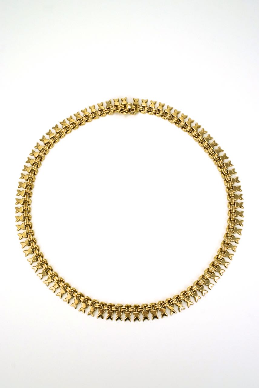 Italian 18k yellow gold fringe style necklace collar 1960s