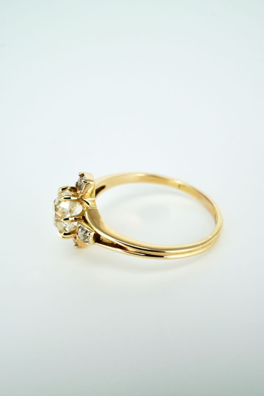 Antique Victorian 18k Yellow Gold Diamond Cluster Ring 1893 England