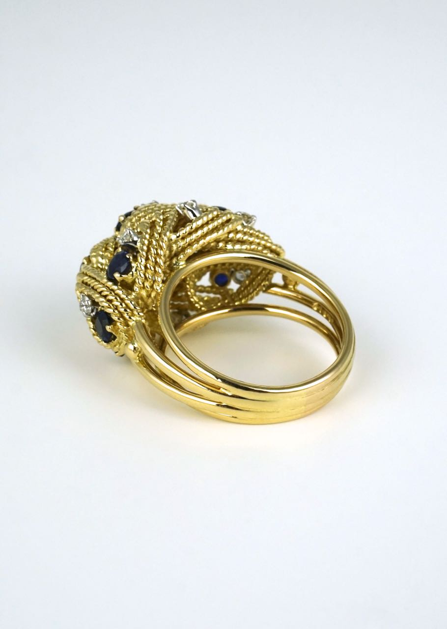 18k gold sapphire and diamond leaf dome ring 1960s
