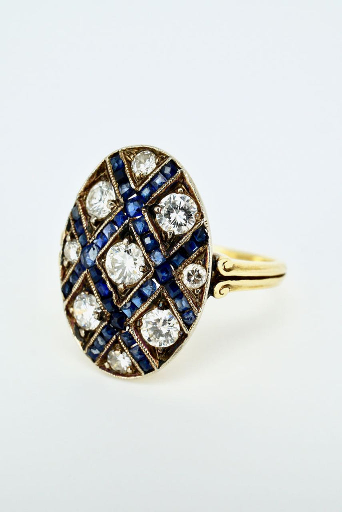 Vintage Art Deco 18k Yellow Gold Diamond Sapphire Lattice Ring