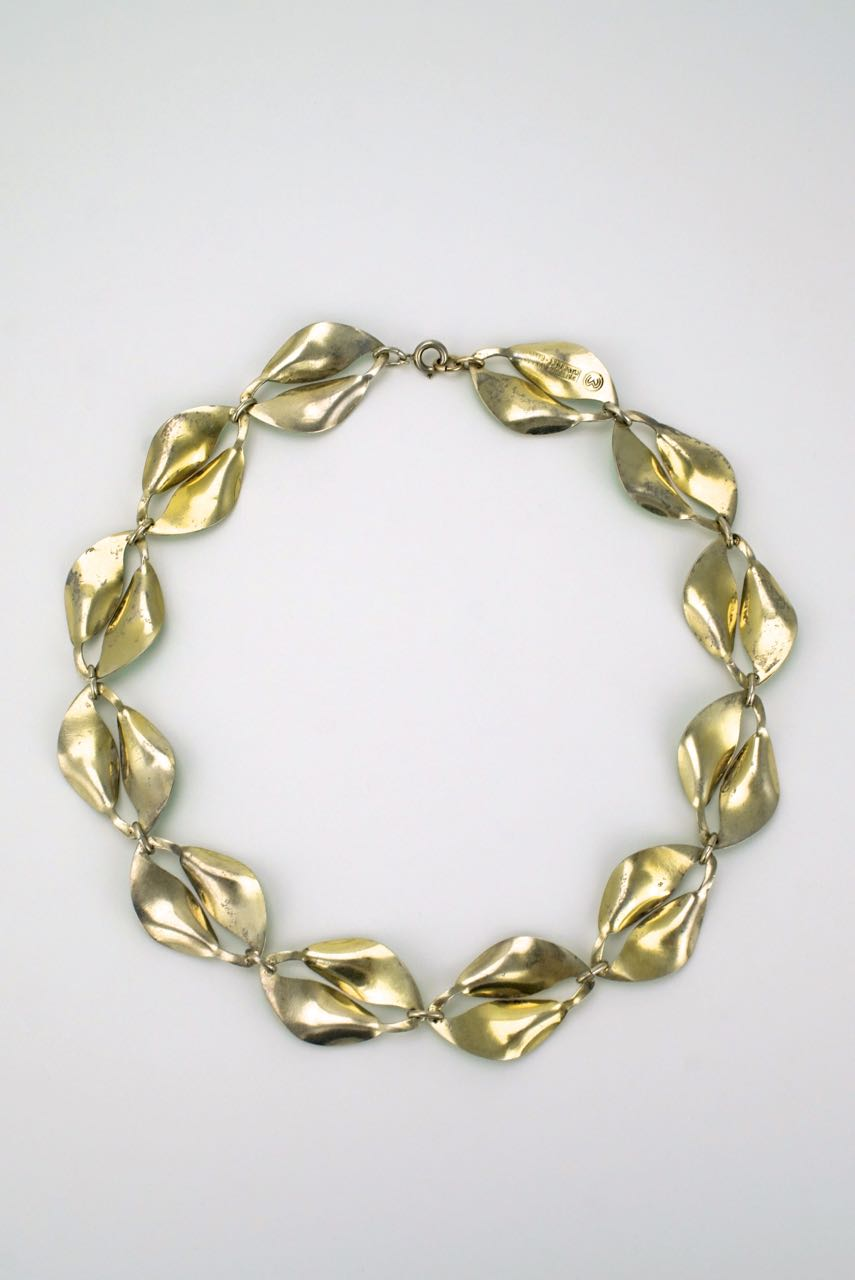 David Andersen solid silver and green enamel double leaf necklace 1950s