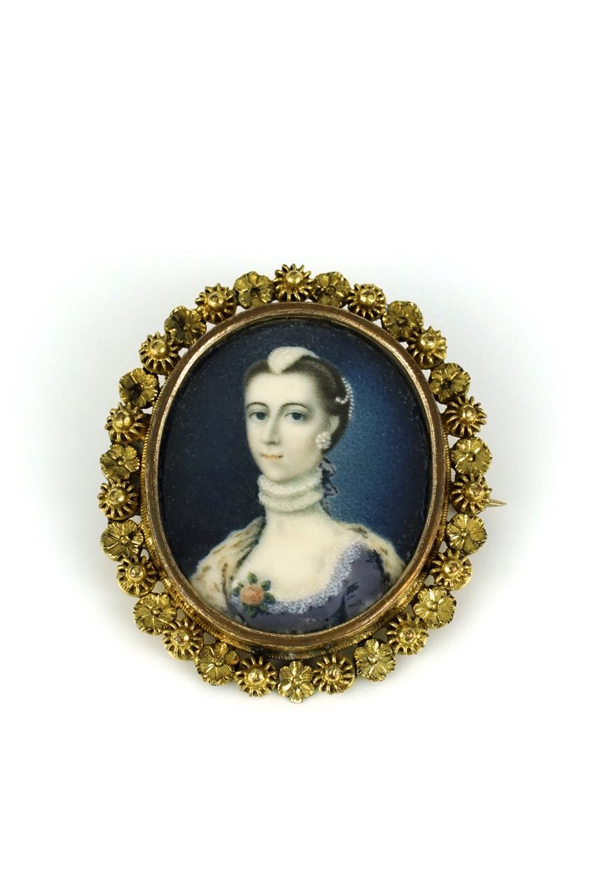 Antique Mid 18th century portrait miniature framed brooch