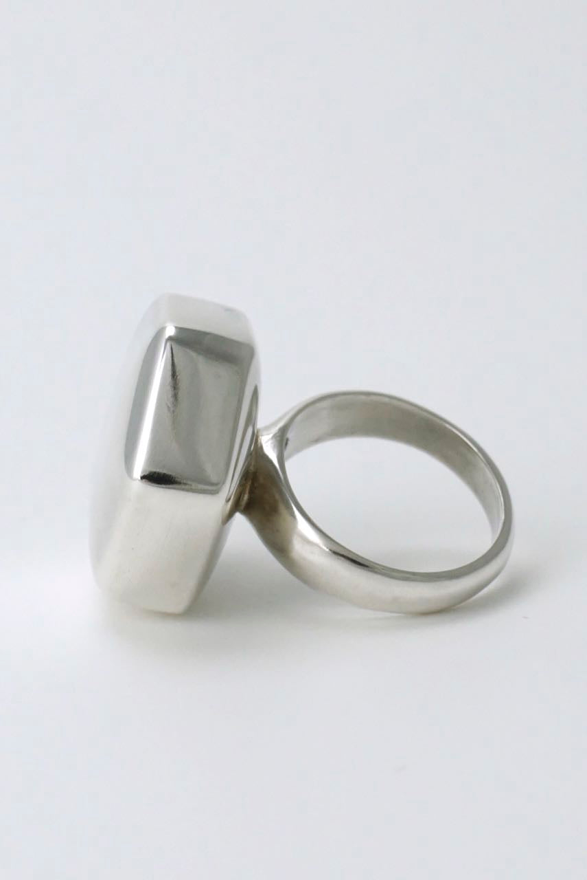 Georg Jensen solid silver six sided ring - design 183 1970s