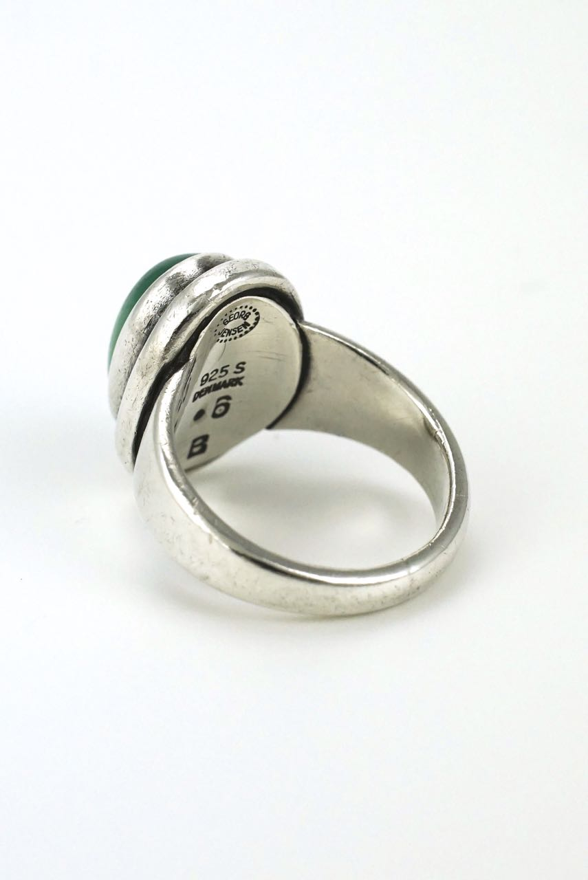 Georg Jensen silver and green chrysoprase ring - design 46B Harald Nielsen 1960s