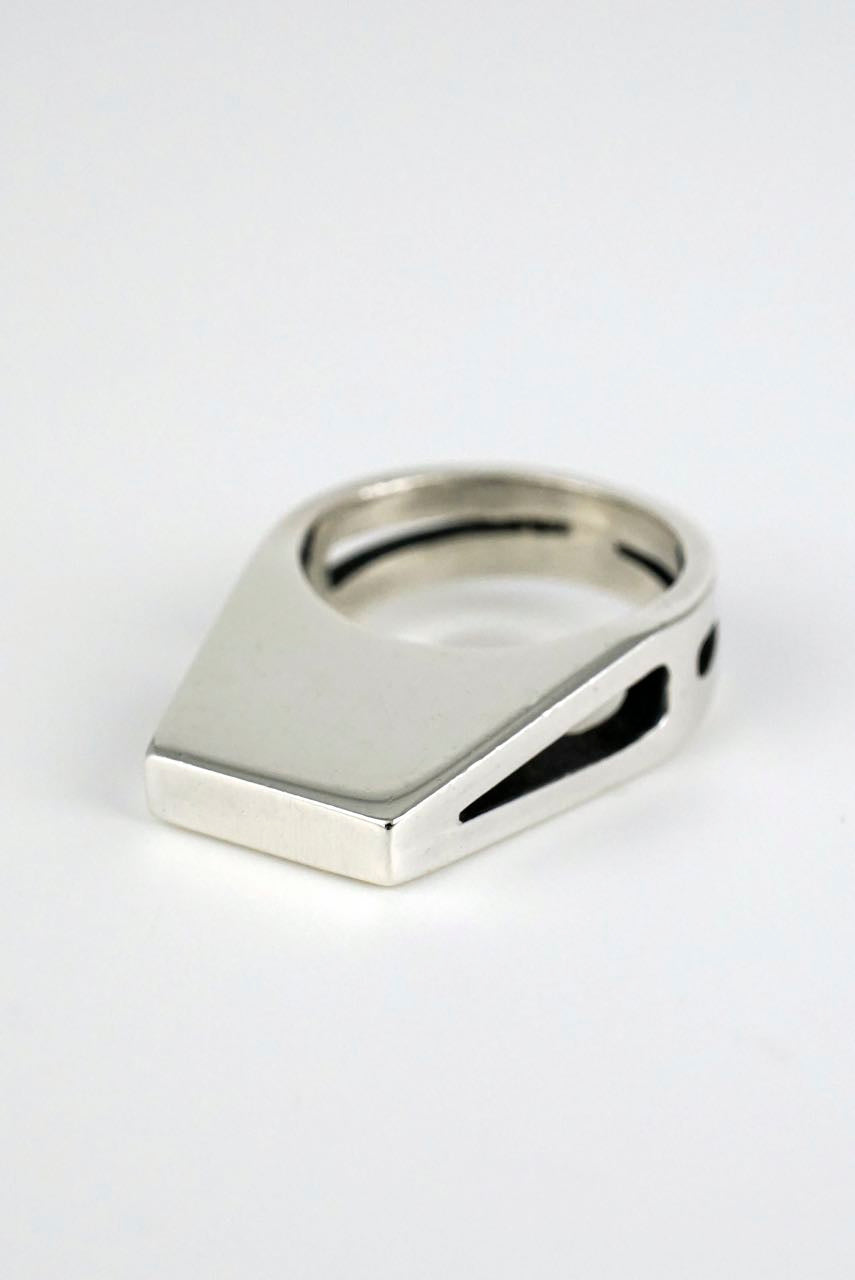 Andreas Mikkelsen silver modernist architectural ring 1970s