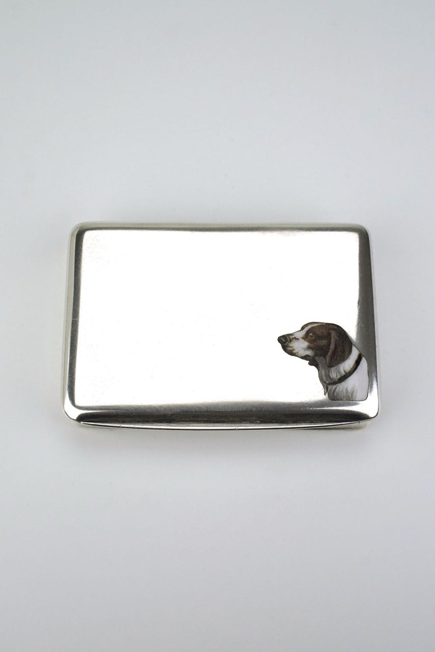 Austrian silver table box with enamelled dogs head motif 1920s
