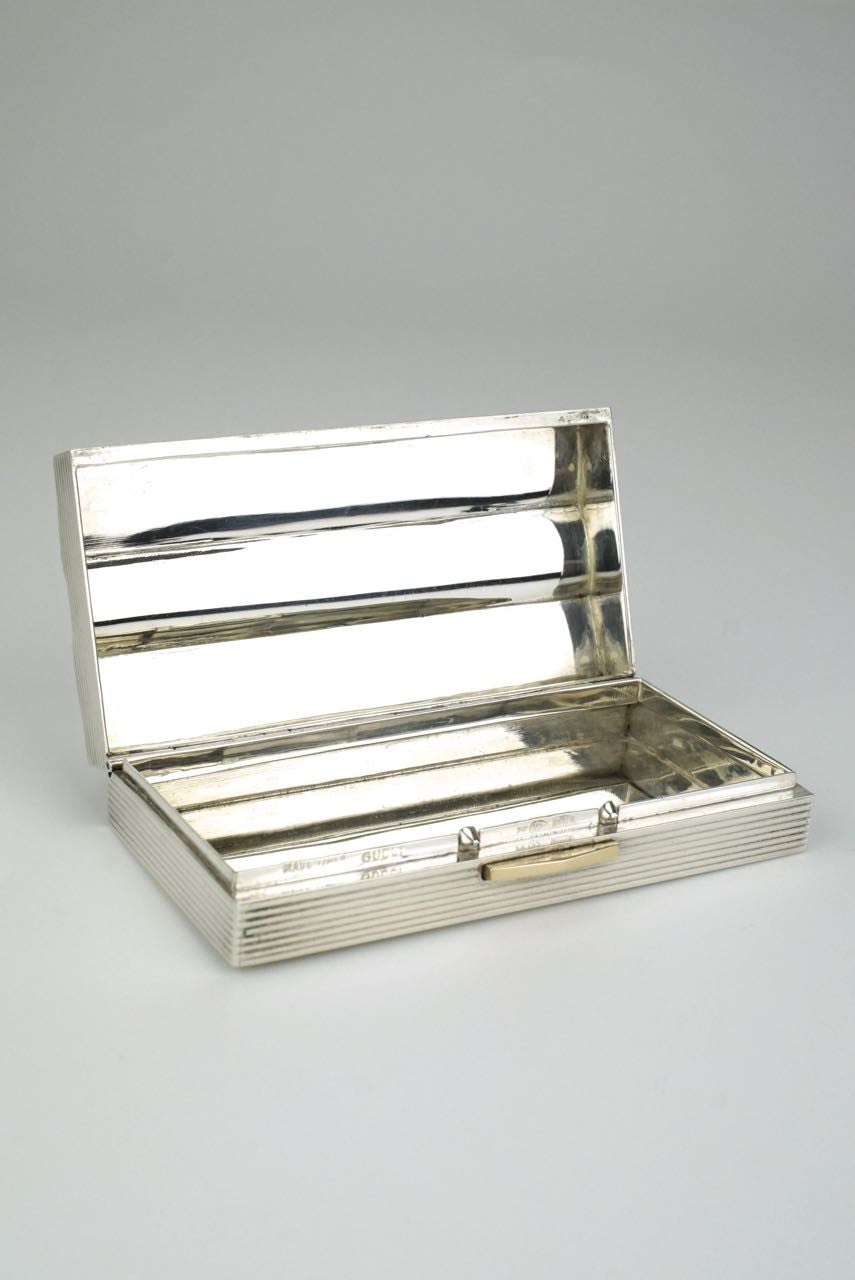 Silver Gucci striped table box - 1960s