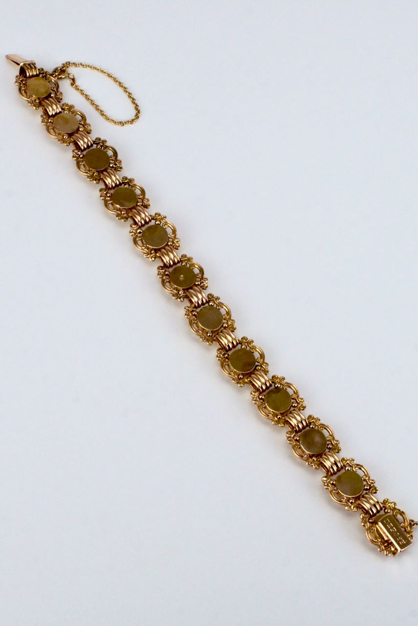 Antique Austrian 14K Yellow Gold Essex Crystal Bracelet