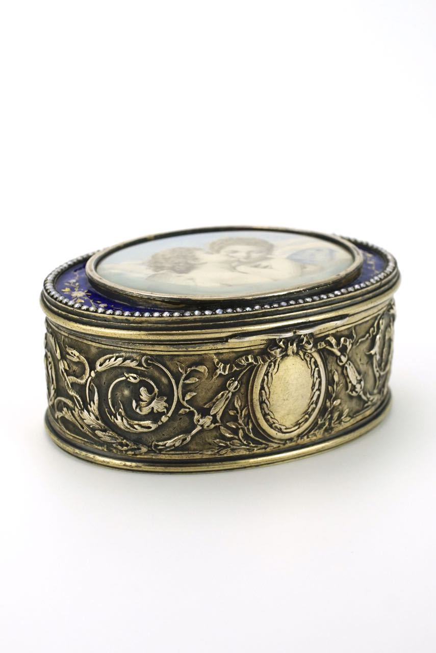 French silver enamel and pearls portrait miniature box 1890s