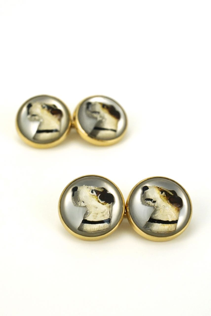 Antique 14k Yellow Gold Essex Crystal Terrier Cufflinks