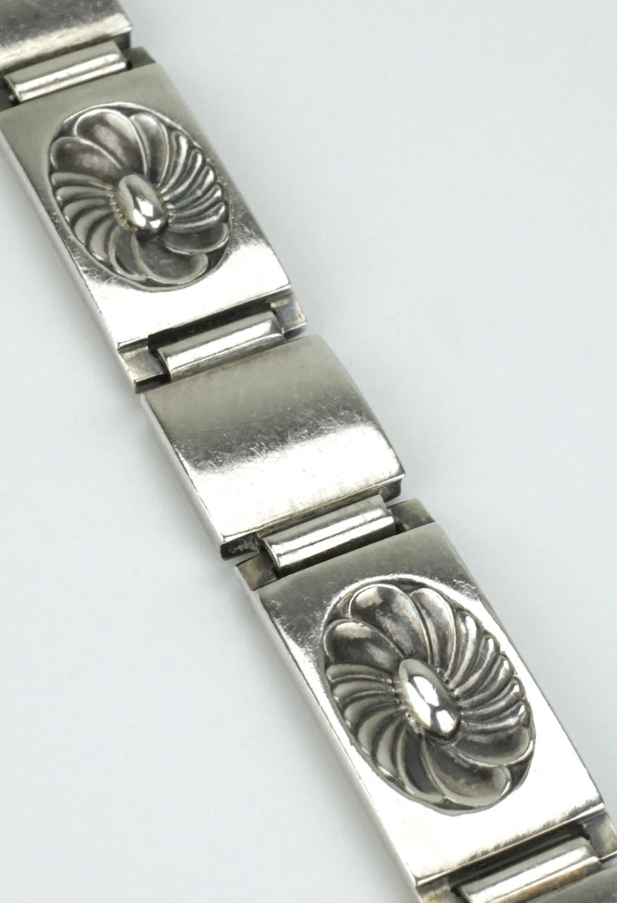 Georg Jensen silver lotus panel bracelet - design 56A