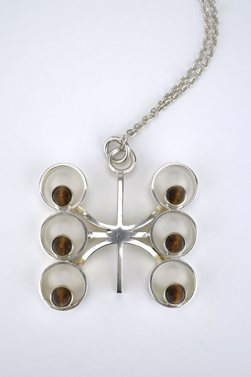 Finnish silver and tiger's eye modernist pendant 1960s