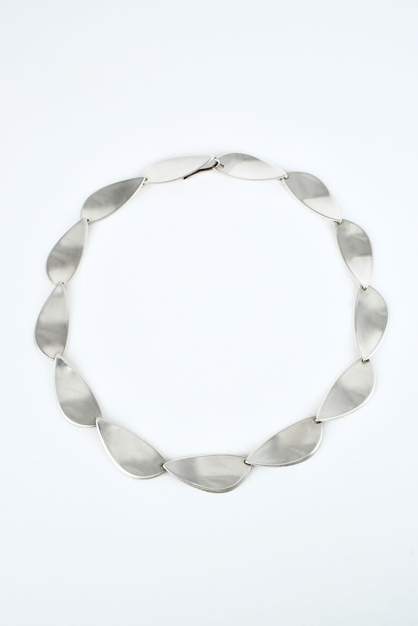 Hans Hansen Sterling Silver Modernist Leaf Necklace - design 318