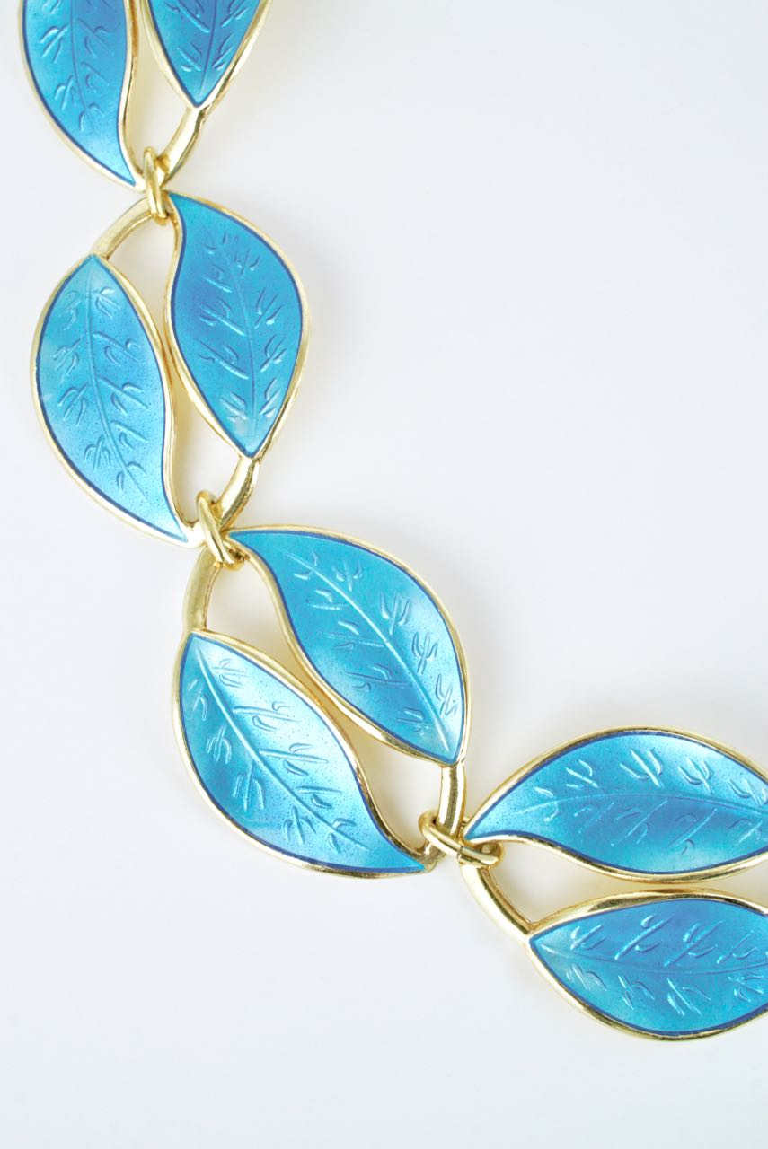 Vintage David Andersen Silver Gilt Sky Blue Enamel Double Leaf Necklace 1950s
