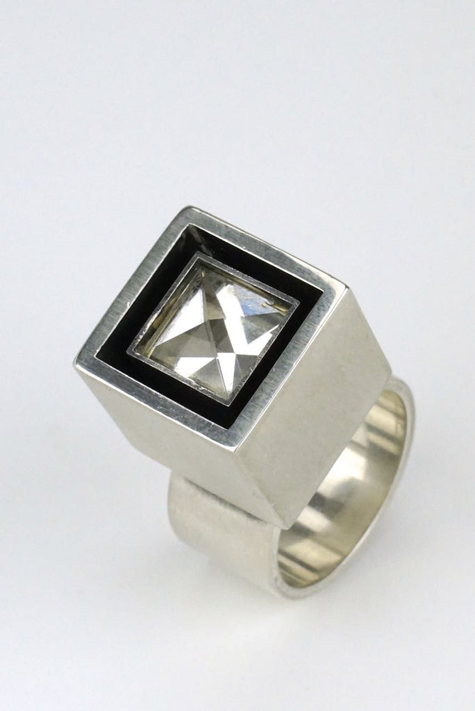 Hans Hansen silver and rock crystal box ring