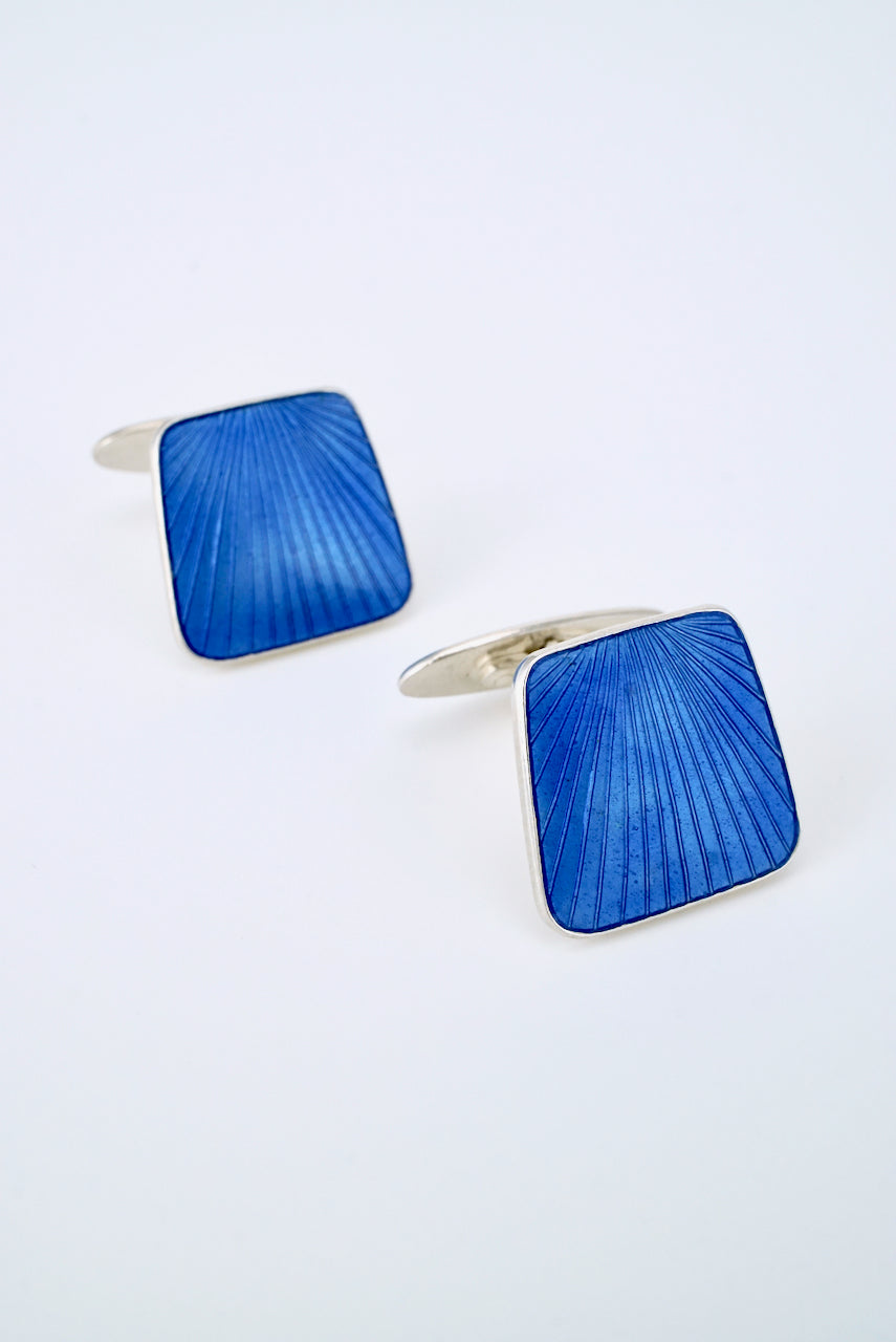Vintage Danish Sterling Blue Enamel Cufflinks 1960s