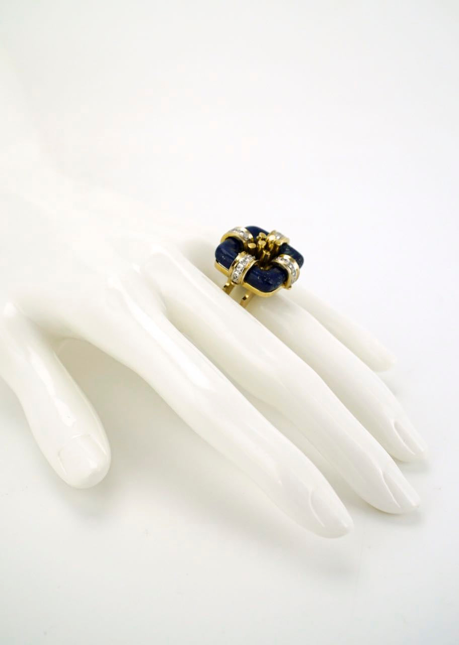 14k gold modernist square lapis and diamond ring 1960s
