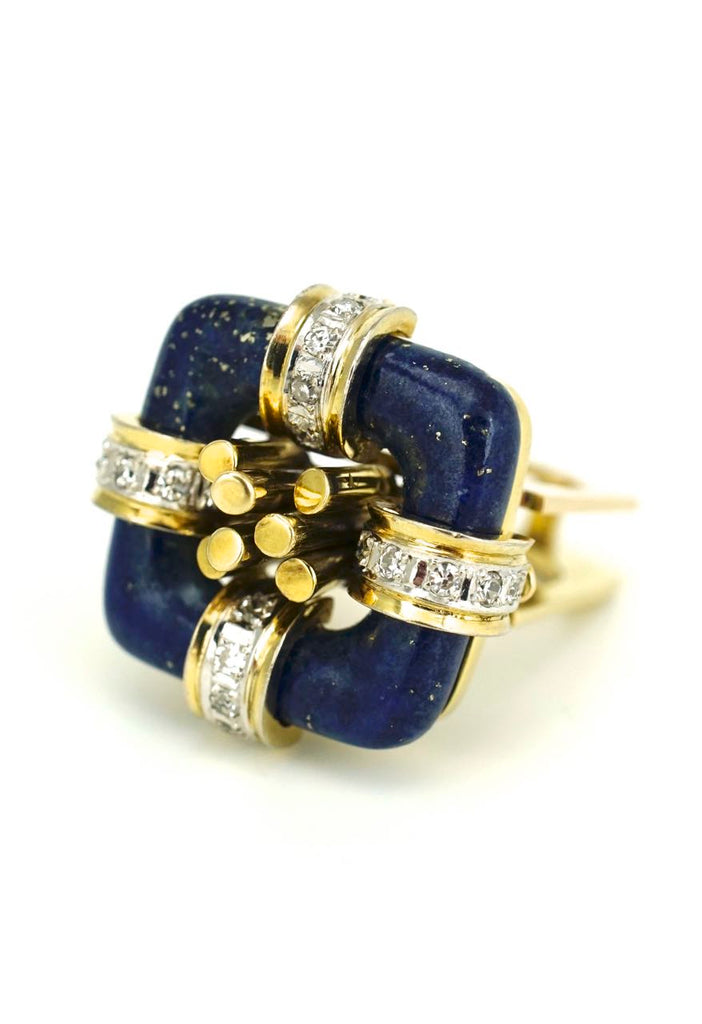 Vintage 14k Gold Modernist Square Lapis and Diamond Ring 1960s