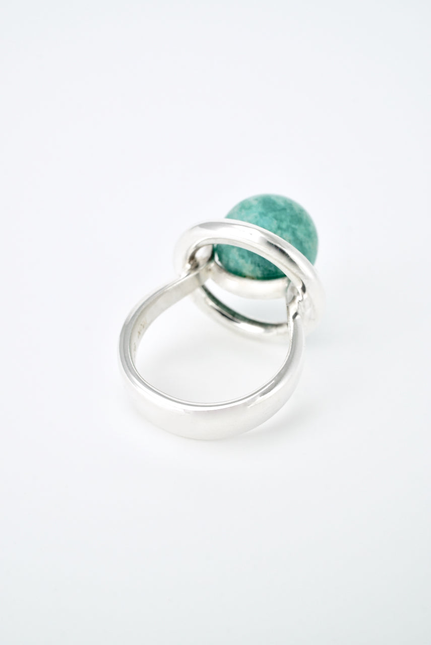 Vintage Hans Hansen Sterling Amazonite Ring 1970s