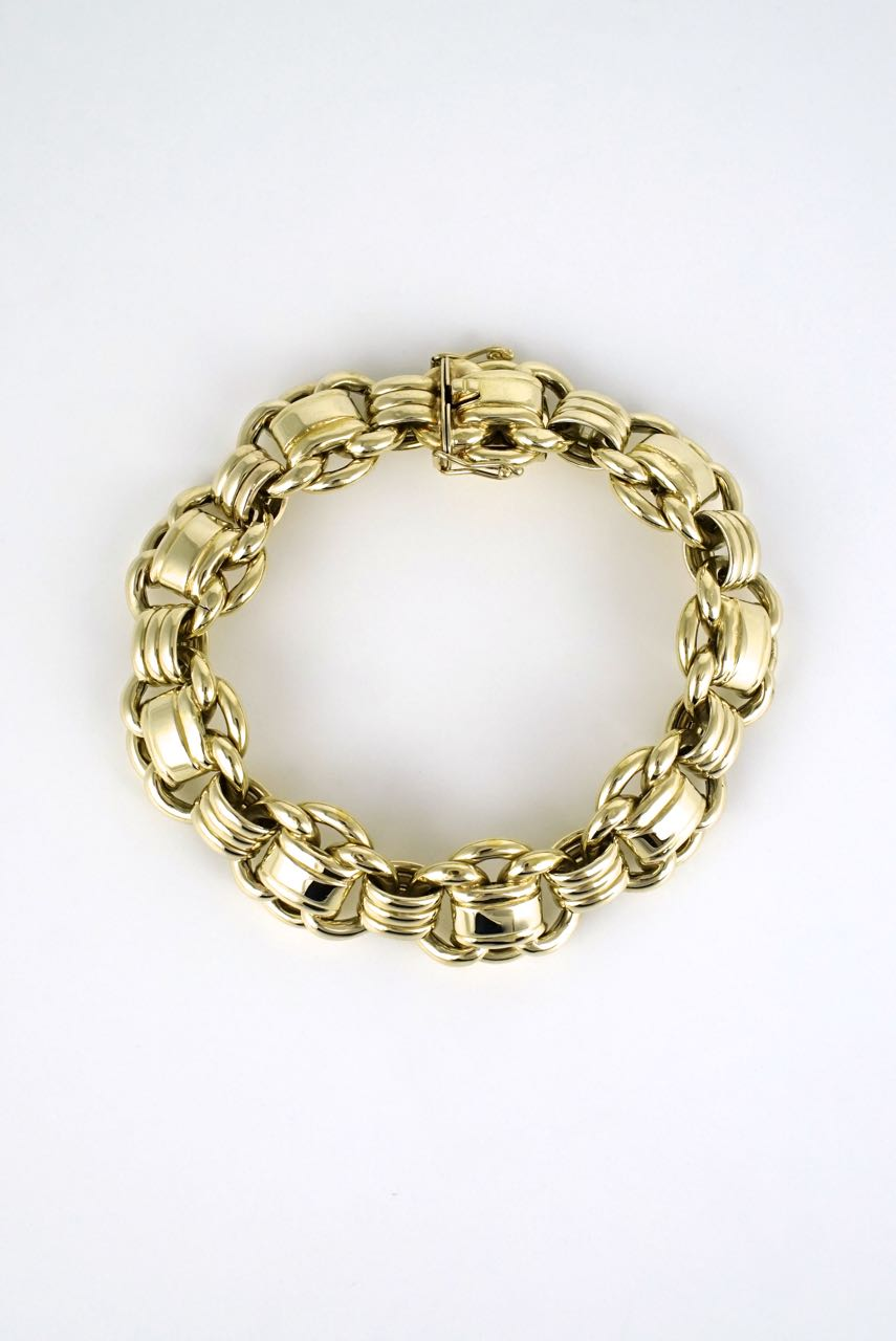 14k yellow gold scallop link bracelet 1950s