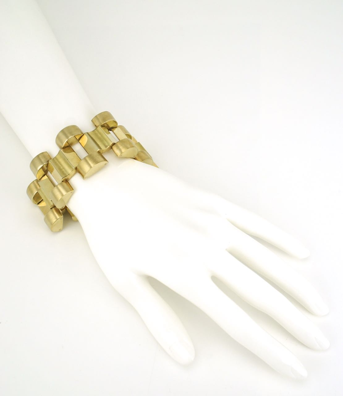 Art Deco 14k yellow gold brutalist bracelet